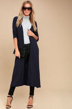 7e5f949be2f Every movement you make in the Graceful Ways Navy Blue Long Cardigan  Sweater will be filled