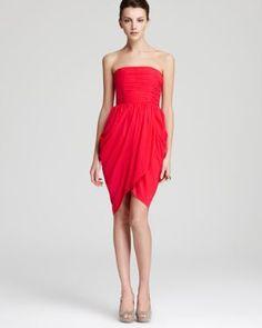 ABS by Allen Schwartz Red Jersey Deep V-Neck Gown Size: M  Formal ...
