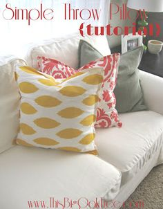 This Big Oak Tree: Simple Throw Pillow {tutorial} Super easy and cute! Pillows can be expensive...save some money and do it yourself! :)