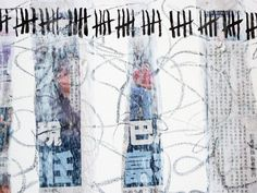 Strips of newspaper collaged into drawing (Sue Gough)
