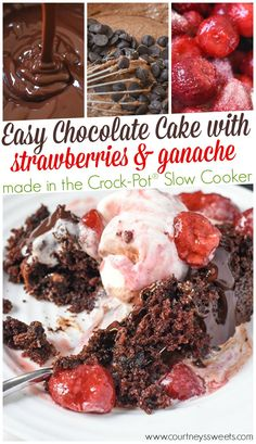 Wow your holiday guests with this Crock-Pot® Slow Cooker Easy Chocolate Cake Recipe! Plus slow cooker ganache and slow cookie strawberries.