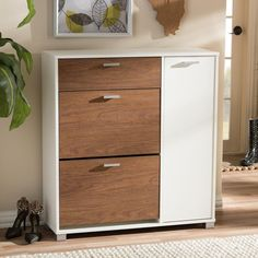 Baxton Studio Chateau Medium Brown and White Wood Finished Shoe Cabinet - The Home Depot Shoe Cabinet Design, Shoe Storage Cabinet, Storage Cabinets, Cupboards, Filing Cabinet, Diy Furniture, Furniture Design, Wooden Shoe Racks, Black Cabinets