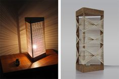 The Delta Lamp can be customized through the placement of 60 rubber bands for maximum geometric shadow fun. http://www.thisiscolossal.com/2013/04/delta-lamp-a-customizable-light-made-from-rubber-bands