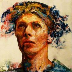 David Bowie / Ashes to ashes by Rémi Jouandet. Medium: Acrylic on wood; Tags: David Bowie , ashes to ashes , rémi JOUANDET; David Bowie Tribute, David Bowie Art, Original Art For Sale, Original Artwork, Original Paintings, Acrylic Paintings, Glam Rock, Saatchi Gallery, Major Tom