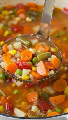 Vegetable Soup Recipe ~ This soup is completely delicious and it's easy to make. Leave out potatoes!