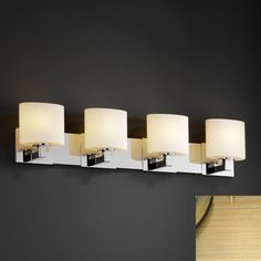 Justice Design Group FSN-8924-30-OPAL Modular 4 Light Bathroom Vanity Light from the Fusion Collection