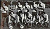 F. C. BARCELONA - Barcelona, España - Temporada 1979-80 - Rubio, Artola, Olmo, Serrat, Estella y Migueli; Sánchez, Roberto Dinamita, Asensi, Simonsen y Carrasco - F. C. BARCELONA 1 (Robeto Dinamita) NOTTINGHAM FOREST 1 (Burns) - 05/02/1980 - Supercopa de Europa, partido de vuelta - Barcelona, Nou Camp - El Nottingham Forest, que había ganado 1-0 en la ida, gana su primer título de la Supercopa europea