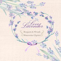 Lavender Watercolour Bouquets & Wreath Clipart. от ReachDreams
