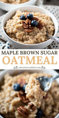 Simplify mornings with a quick and easy homemade maple brown sugar oatmeal. Dairy free Instant Pot oatmeal recipe using rolled oats and real maple syrup. #adventuresofmel #InstantPot #breakfast