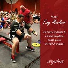 LifeWave Endorser and 25 time drug-free bench press world champion, Tiny Meeker! Tiny holds over 60 World Records in 15 different federations and is the first man in history to press 800 and 900 in a single-ply shirt. Tiny has been using our products for over 10 years.  #lifewave #energyenhancer #patches #tinymeeker #sport #champion #records