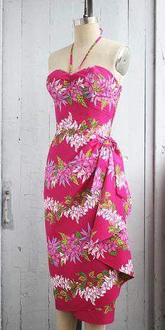 Pinup Dress, Tiki Dress, Rockabilly Dresses, Hawaiian Fashion, Hawaiian Outfits, Robes Pin Up, Sarong Dress, Island Wear, Ethnic Fashion
