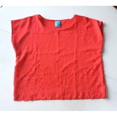 """Nordstrom HIP crop top shirt short sleeves M red This is a crop top by H.I.P. carried at Nordstrom. It is red and has short sleeves. It should have a boxy oversized fit. The front hem has a beautiful floral pattern cut into it. Size M. Hand wash, line dry. 100% polyester.  Shoulder to shoulder: 16.5"""" Arm pit to arm pit: 22"""" Waist: 20.5"""" Shoulder to hem: 20"""" Sleeves: 4""""  Please allow for slight color variation. Anthropologie for exposure. Anthropologie Tops Crop Tops"""