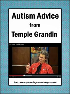 FREE Video - Promoting Success: Autism Help Strategies from Temple Grandin - Autism help from someone with autism! Great video! She offers advice, tips, strategies, etc.