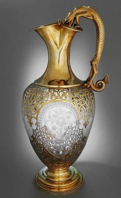 An Antique Glass & Silver Gilt, English Claret Jug (with a great sense of humour - the handle shows a Newt drinking from a bucket) - created by Stephen Smith of London 1865 - photo (© by www. Antique Glass, Antique Silver, Lila Gold, Oeuvre D'art, Decanter, Vases, Art Decor, Art Nouveau, Glass Art