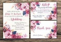 Floral Wedding Invitation Printable Boho by MGDigitalHippie