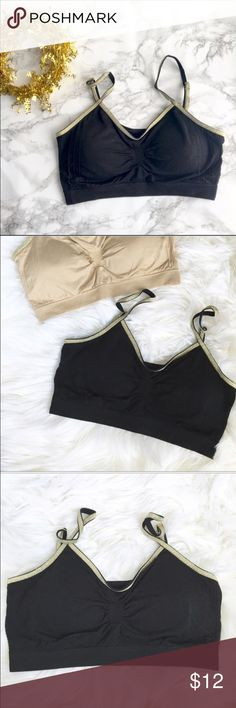 Glam glitter trim bralette with padding. Glam glitter trim bralettes with removable padding. Comfortable and stylish underneath wear. Poly blend with spandex fabric . Come in nude color too on separate listing. LIMITED.❤️❤️❤❤️️Follow me on INSTAGRAM: @chic_bomb and FACEBOOK: @thechicbomb❤️❤️❤️❤️ CHICBOMB Intimates & Sleepwear Bras