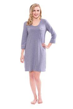 618fe95de Women s Sleep Shirt 3 4 Sleeve - Classic Nightshirt For Her by Texere  (Zizz) - Heather Atlantic - CD12LPVJ2FD. Women s Sleep ShirtsPajama ...