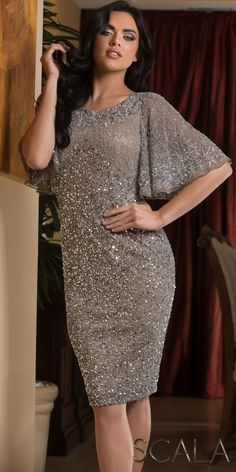 0a24890b82 Dazzling Sequin Drape Sleeve Cocktail Dress by Scala