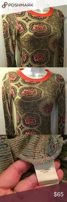 New, FREE PEOPLE Floral Ribbed Long Sleeve Thermal LIMITED EDITION- FREE PEOPLE EXCLUSIVE! Stunning and bold tangerine red wide scoop neck accents and long tangerine red ribbed cuffs make this stretchy and incredibly soft extremely rare neon highlighted floral swirling thermal top in women's size Medium.  Red Trim Floral Stretch Knit Thermal Cotton Top Is brand new without tags, never worn and no longer being made...this stunning and super cozy thermal is an absolute FREE PEOPLE collector's…