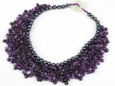 Amethyst and Black Pearl Woven Party Bib Necklace