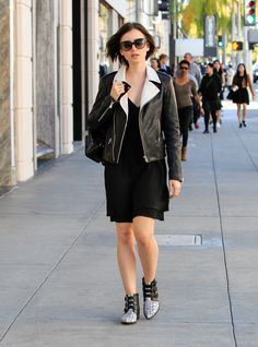 Lily Collins Leather Jacket - Newest Looks - StyleBistro
