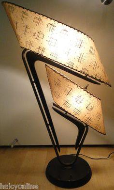 Vtg 50s Majestic Boomerang Lamp Fiberglass Shades Mid Century Modern Eames Retro | eBay