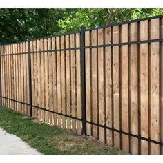 Slipfence (Common: X X Actual: X X Vertical System Black Aluminum Wood Fence Rai - Modern Design Diy Privacy Fence, Privacy Fence Designs, Diy Fence, Garden Privacy, Backyard Fences, Backyard Landscaping, Landscaping Ideas, Backyard Ideas, Aluminum Fence
