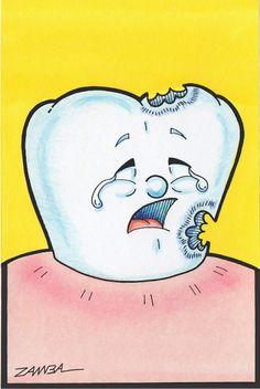 ilustração de Dentinho Animado, técnica de aquarela e lápis de cor aquarelável - Ano de 2000 - Projeto gráfico para Pôster - Thooth Cartoon