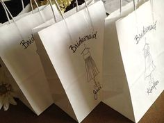 SET of 3 Personalized Bridesmaid Favor Bags with by PrinceWhitaker, $25.50