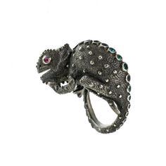 Gold Plated and Sterling Silver Chameleon Ring with Rhodolite Garnets, Paraiba Tourmaline and Diamonds.