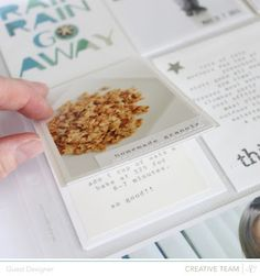 flip up card: food photo on top, recipe underneath