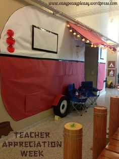 How To Show Teacher Appreciation In A Big Way , Teacher Appreciation Theme with a life size paper camper our PTO made. Camping Parties, Camping Theme, Camping Ideas, Camping Room, Beach Camping, Camping Crafts, Camping Essentials, Rv Camping, Camping Hacks