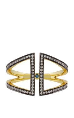 Open Rhombus Ring In Yellow Blackened Gold And White Diamonds by Noor Fares for Preorder on Moda Operandi