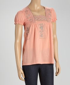 Look at this Coral Embroidered Square Neck Top on #zulily today!