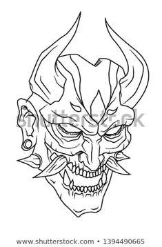illustration of Japanese demon mythology namely oni Sketch Tattoo Design, Tattoo Sketches, Tattoo Drawings, Art Sketches, Tattoo Designs, Oni Tattoo, Samurai Tattoo, Samurai Art, Body Art Tattoos