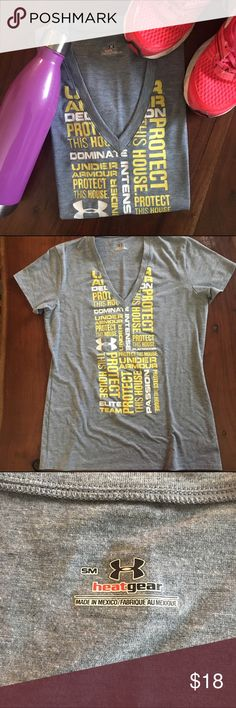 Under Armour work out T shirt Ladies it is time to kick it into high gear and get that summer body! The sunshine is just around the corner and this shirt is ready to help you! The cute graphic detail is in perfect condition! 95% polyester size small but fits loose. Under Armour Tops Tees - Short Sleeve