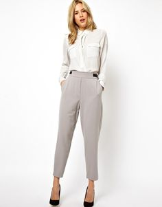 Asos maternity Asos Premium Relaxed Pants with Zips in Gray (Grey ...
