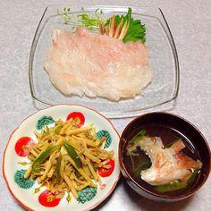 カサゴのお刺身、 カサゴのお吸い物、 青椒肉絲 です。 - 12件のもぐもぐ - カサゴの晩ご飯 by orieueki