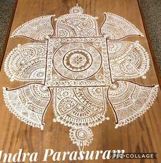 Free Hand Rangoli Design, Rangoli Patterns, Rangoli Kolam Designs, Rangoli Designs With Dots, Rangoli Designs Images, Beautiful Rangoli Designs, Simple Rangoli, Art And Craft Design, Design Art
