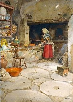 A Arte em Portugal: Alfredo Roque Gameiro - Provando o jantar (1909, Museu do Chiado - Museu Nacional de Arte Contemporânea)