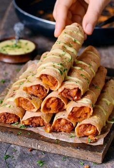 Buffalo Chickpea Taquitos are crispy, spicy, and satisfying! No chicken needed for this protein-rich and delicious recipe. The taquitos are gluten-free, vegan, and easy to make! Spicy Recipes, Whole Food Recipes, Vegetarian Recipes, Dinner Recipes, Cooking Recipes, Healthy Recipes, Vegan Chickpea Recipes, Vegan Cheese Recipes, Vegetarian Chicken