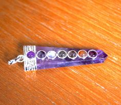 Amethyst with Seven Chakra  Crystal Pendant for by acutegems, $22.00