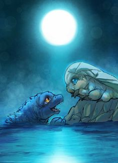 Baby godzilla/Junior and baby Mothra/Baby All Godzilla Monsters, Godzilla Comics, Cute Monsters, Godzilla Godzilla, Godzilla Wallpaper, Wallpaper Art, Japanese Monster, Alien Worlds, Fantasy Creatures