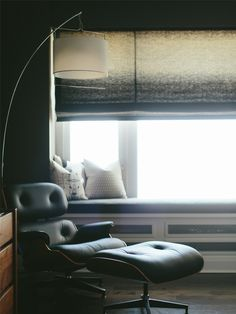 Eames chair, ombre window shade, window seat in dark grey bedroom by Alexandra Kaehler Design
