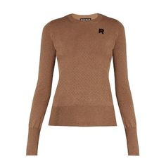 Rochas Eyelet-knit wool sweater (€290) ❤ liked on Polyvore featuring tops, sweaters, brown tops, grommet top, brown sweater, rochas and eyelet tops