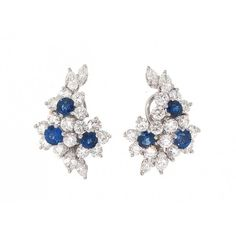 Tiffany & Co. Sapphire and Diamond Flower Earrings i #503795 ❤ liked on…