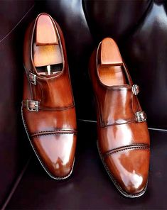 Slip On Shoes, Men's Shoes, Double Monk Strap Shoes, Gentleman Shoes, Leather Dress Shoes, Leather Skin, Penny Loafers, Luxury Shoes, Formal