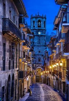 A street view onto the beautiful San Salvador church in Basque Country, Spain. If you'd like to explore this beautiful area, you can find hotels here. (Photo via jamie silverster on Pinterest)