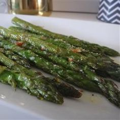 Roasted Asparagus with Parmesan - photo isn't great, but the garlic powder makes a big difference.