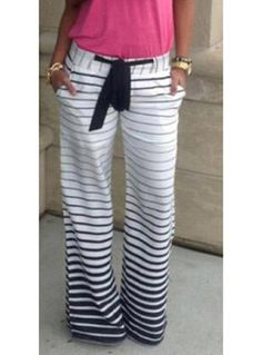 Fading Color Striped  Wide Legs Pants With Cloth Sash Tie